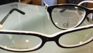 Kurt Geiger and CK black and white frames winter eye trends