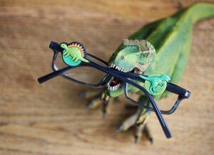 Dinosaur-style Blinx charms for children who wear glasses