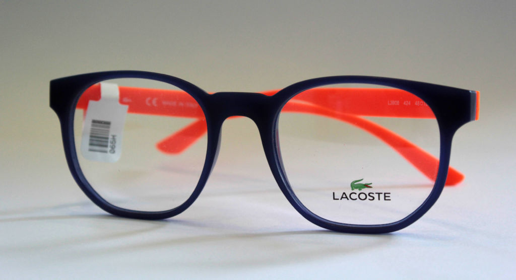 Children's Lacoste Frames in navy and orange at Richard Petrie Optometrists